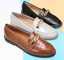 WOMENS LADIES  FLAT LOAFERS COMFY WORK OFFICE PUMPS CLASSY BROGUE SHOES SIZE 3-8