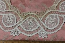 American Hand Embroidered Floral White On White Lace Collar Or Appliqué c1840