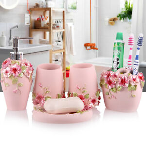 Resin Bathroom Accessories Sets 5pcs Toothbrush Dish Soap Holder Pink Color