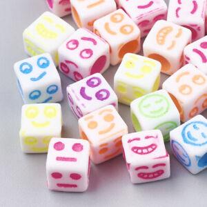 150+ White Cube Acrylic Mix Colors Emoji Faces Beads Fun Kids Crafts 6x6mm USA