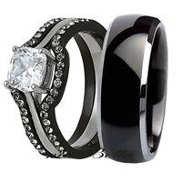 His Titanium Hers 4 Pcs Black Stainless Steel Wedding Engagement Ring Band Set