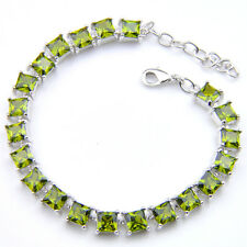 Natural Shiny Square Olive Peridot Gem 925 Sterling Silver Plated Chain Bracelet