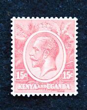 Stamps KGV Kenya & Uganda SG 82 (1922) 15c Red, Fine Mounted Mint