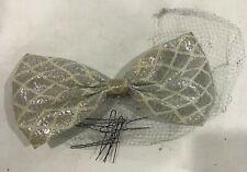 Womens Handmade 1940s Vintage Silver Hair 'Flower' Bow w/ Bun-Covering Veil J1