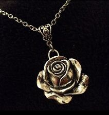 "Rose Necklace 18"" Chain flower girl gift silver plated wedding Love Life Pendant"