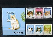Guinée 1998 Sc#1431-1437 Ensemble de chats de 6 Timbres & S/S MNH