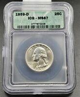 1959 D Washington Silver Quarter Coin ICG MS67 Gem BU Uncirculated No Toning