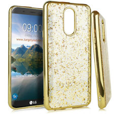 for LG Stylo 4 - Gold Chrome Flake Soft Rubber Silicone TPU Skin Case Cover