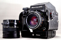 Mamiya M645 1000s AE Finder + Winder Grip + Sekor 80mm f/2.8 + 2X Telecon *211