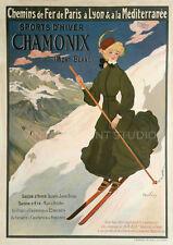 Chamonix 1905 Vintage French Ski Poster Giclee Canvas Print 20x28