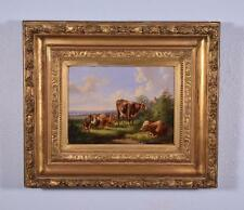 Antique Oil on Panel Painting of Cows by Albertus Verhoesen (1806-1881)