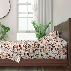 Floral Flowers Autumn Fall Thanksgiving 100% Cotton Sateen Sheet Set by Roostery