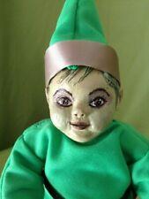 "New listing Handmade 10"" Green doll"