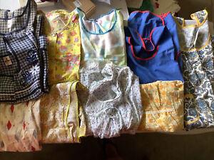 Lot of 8 Vintage Handmade Bib Length & Jacket/smock Cotton Aprons + 2 Factory Md