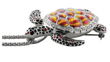 With Swarovski Crystals Ari D Norman Rhodium Plated Turtle Brooch & Pendant
