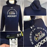 Wooster Oilers Hockey Under Armour Hoodie S Blue Poly Loose YGI C9-59