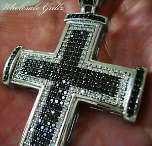 NEW CUSTOM SIMULATE BLACK DIAMOND HIPHOP CROSS JESUS PIECE PENDANT CHARM