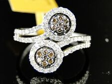 Ladies Womens White Gold Brown White Round Cut Flower Diamond Ring .60 Ct