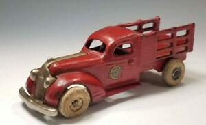 1935 ARCADE 6.25 in Cast Iron PONTIAC STAKE TRUCK w NICKEL GRILL & Arcade DECAL