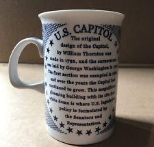 US Capital Mug Washington DC Informative White Blue Rare
