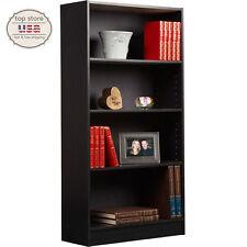 Adjustable Wood Storage Shelving Book Bookcase 4 Shelf Bookshelf Black New