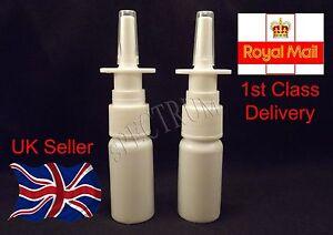 x2 10ml Fine Mist Nasal Spray Pump Bottles (Empty, Refillable).