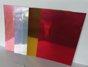 A4 Sheet x Coloured Chrome Mirrored Self Adhesive Sign Vinyl Decorative Crafts