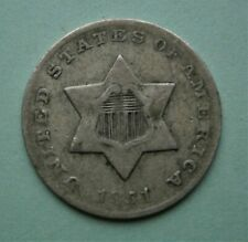 United States 1851-O New Orleans Mint Silver Three Cent Coin