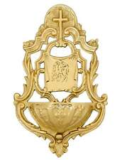 Church wall mounted holy water font polished brass 19cm polished