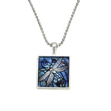 Trendy Dragonfly Pattern Necklace Square Glass Cabochon Pendant Necklace Jewelry