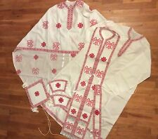 RUSSIAN GREEK ORTHODOX HAND MADE EMBROIDERED PRIEST VESTMENTS SET RED & WHITE