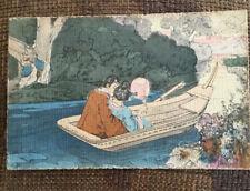 1902 Hand Coloured Japan Boat Postcard - Ettlinger Royal Series Posted