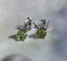 1 Ct Chinese Peridot Stud Earrings 5 Mm Round Platinum Over Sterling Silver