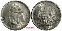 Mexico SECOND REPUBLIC Zacatecas Silver 1884 Zs S 25 Centavos Scales AU KM#406.9