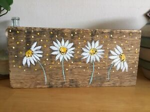 Handmade Driftwood Cottages, Driftwood Picture, Daisy, Reclaimed Art, Gift,
