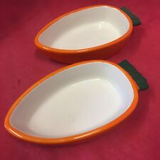 "2x Rabbit TREAT Bowl Pot Carrot Shaped 5"" Dish Water Food Guinea Pig Chinchilla"