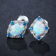 Engagement Gift White Fire Opal Titanic Ocean Blue Topaz Silver Stud Earrings