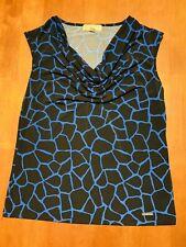 Michael Kors Women's Cowl Neck Blue Black Shirt Size Large