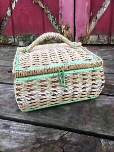 Vintage Japan Plastic Wicker Sewing Basket Green Accents Silk lining inside tray