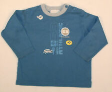 Jungenpulli dünner Pulli Langarmshirt Shirt in blau Schriftzug TOP Größe 80