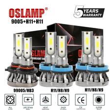 3 Sets Combo H11 9005 H11 LED Car DRL Headlight Kit High Low Beam Fog Bulbs