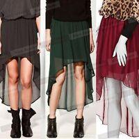 Women Sheer Elastic Waist Irregular Hem Chiffon pleated Mini Skirt Dress N361