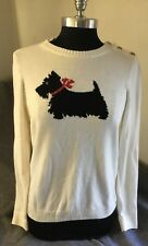 New Charter Club Womens Cream Colored Cotton Polyester Blend Scottie Dog Sweater
