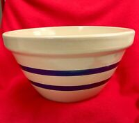 """Robinson Ransbottom Pottery Roseville OH 10"""" / 3 Qt Mixing Bowl Blue Stripes"""