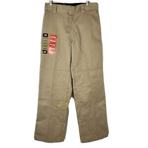 NWT Dickies Flex Mens Size 32x32 Flat Front Beige Double Knee Khaki Work Pants