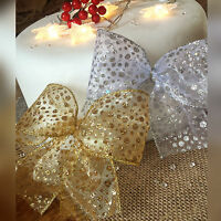Wired Gold or Silver Glitter Spot Christmas Ribbon 63mm Wedding Tree Wreath Xmas