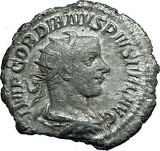 GORDIAN III 242AD Antioch Authentic Ancient Silver Roman Coin w FORTUNA i66114