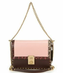 COACH Color-Block with Snake and Rivets Jennifer Lopez Hutton Shoulder Bag