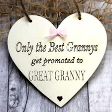 Personalised Heart Granny Great Granny Grandparents Gift Christmas Baby Announce