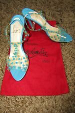 CHRISTIAN LOUBOUTIN Perspex Heel Peep Toe Sandals With Studs Blue Turquoise